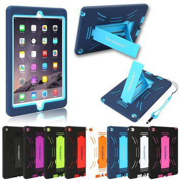 Tablet Case For Apple iPad Air 2 Armor Shockproof Heavy Duty Rubber Hard Case Cover with Stand With Free Film + Stylus + Cloth