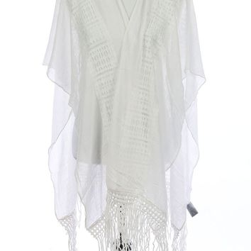 White Lace Crochet Sheer Coverup Poncho