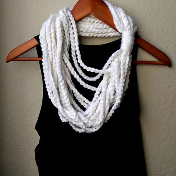 Infinity Loop Scarf, Loopy Chain Scarf, Crocheted Chain Infinity Scarf, Rope Infinity Scarf in White, Soft Bulky Crochet Eternity Scarf