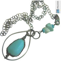 Peruvian Opal Silver necklace, Larimar, Turquoise, pendant, Gem Bliss