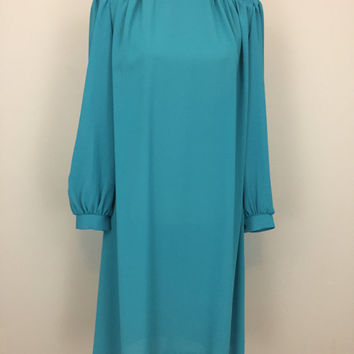 70s Vintage Dress Shift Dress Chiffon Hipster Loose Dress Long Sleeve Midi Day Dress Mad Men Teal Blue Dress Medium 1970s Womens Clothing