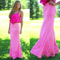 Simply Chevron Maxi Skirt in Fuchsia