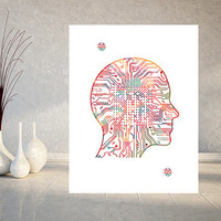 Artificial Intelligence watercolor print Artificial Brain poster computer art neural net AI print Information Technology art wall art gift