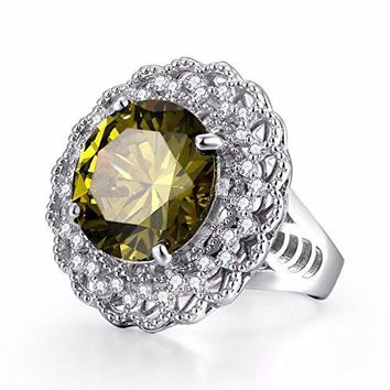 Caperci Sterling Silver Big RoundCut Created Peridot Statement Rings for Women
