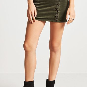 Velvet Lace-Up Mini Skirt