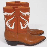 Vintage 70s Short Leather Boots Western Cowboy with White Inlays by JACA