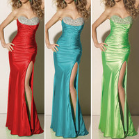 Shining Beaded Slim Fit Sexy Formal Long Strapless Party Prom Gown Evening Dress