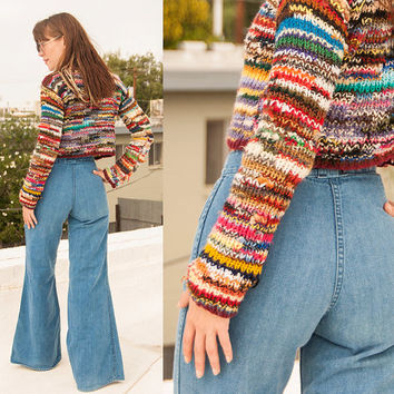 70s High Waisted Bell Bottom Jeans XS S 25  Waist | Womens Vintage Super High Rise elephant Bells Wide Leg Disco flared mom jeans by Foxmoor