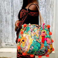 Tassels bag/Beach bag/Pom pom bag/yoga bag/Weekend bag * Butterfly  Bag