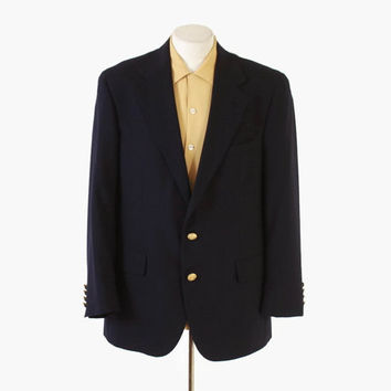 Vintage 80s RALPH LAUREN BLAZER / 1980s Men's Tailored Navy Wool Sport Coat Jacket M
