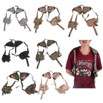New Outdoor Military Tactical Adjustable Shoulder Holster Vertical Shoulder Gun Holster with Pouch for All Hand Gun HOT