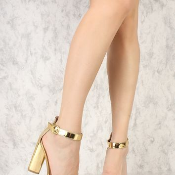 Sexy Gold Open Toe Single Sole Triangle Chunky High Heels Metallic Faux Leather