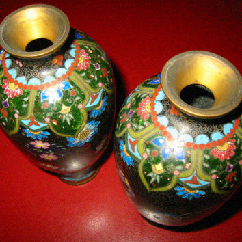 Black Cloisonne Japanese Vases Chrysanthemum Flowers Gold Inclusion