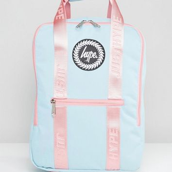 Hype Tote Backpack in Blue With Pink Straps at asos.com