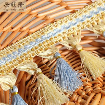 XWL 15Yards/Lot Golden Wire Polyester Tassel Fringes Trim Curtain Lace Accessories DIY For Sofa Table Cloth Ribbons Home Decor