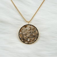 Long gold necklace with a butterflys circular pendant,Gold plated necklace,Long necklace,Fashion necklace,Prom necklace,Unique necklace,gift