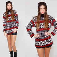 Vintage 90s Ski Sweater Black White and Red Winter FOLK Flower & PLAID Pullover Jumper