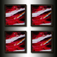 Drink Coasters: Handmade Set of 4 Magenta Abstract
