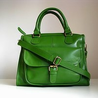 Green Leather Handbag Satchel