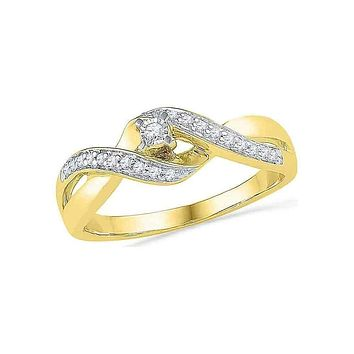 10kt Yellow Gold Women's Round Diamond Solitaire Crossover Twist Promise Bridal Ring 1/5 Cttw - FREE Shipping (US/CAN)