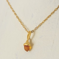 Tiny Acorn Pendant Necklace