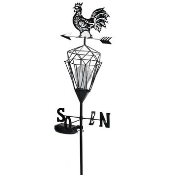 "46.5"" Black Rooster Solar Powered LED Outdoor Metal Lantern with Weathervane"