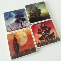 Ready to Ship! MoonLit Trees Coasters - Tree Coasters -  Great Housewarming Gift - Home Decor - Set of 4