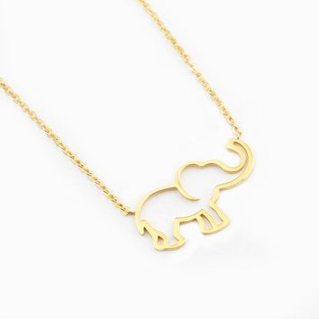 Collier Femme Stainless Steel Gold Chain Origami Elephant Pendant Necklaces For Women Gothic Jewelry Collares De Moda 2018 Kolye