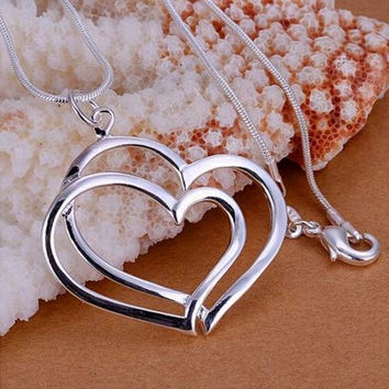Fashion 925 Sterling Silver Charm Heart Pendant Beautiful Women Necklace Romantic Heart-shaped Couple Necklace = 1930220356