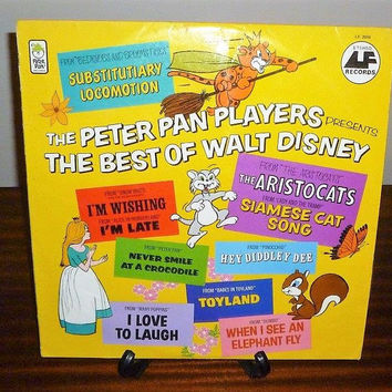 "Vintage 1970s ""The Peter Pan Players Presents The Best of Walt Disney"" LP Record by Peter Pan Records / Retro Children's Album Disney Movies"