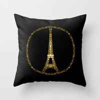 Eiffel Tower gold sparkles peace symbol Throw Pillow by PLdesign | Society6