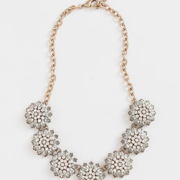 Ava Crystal Flower Statement Necklace