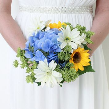 "Sunflower, Daisy & Hydrangea Silk Flower Bouquet in Yellow & Blue - 11"" Tall"