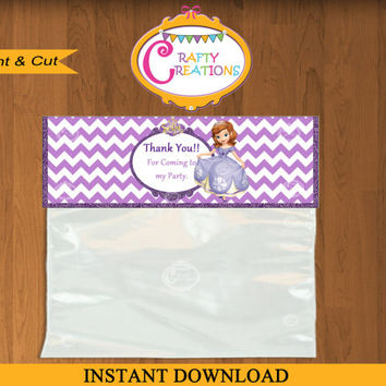 Sofia The First Favor Bag topper Treat Bag -Personalized Disney Sofia Birthday Printable -Disney - DIY - INSTANT DOWNLOAD - Crafty Creations