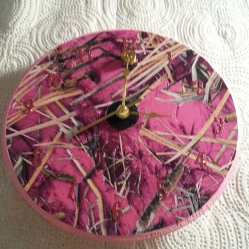 RealTree Pink Camo Round Rustic Country Bullet Clock
