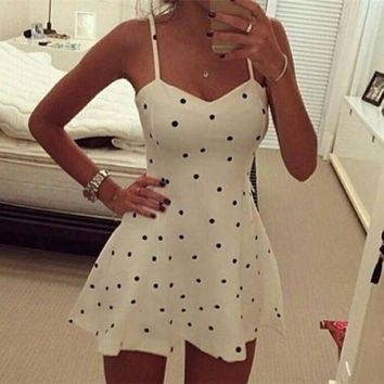 LMFON Fashion Polka Dots Print V-Neck Backless Sleeveless Strap Mini Dress