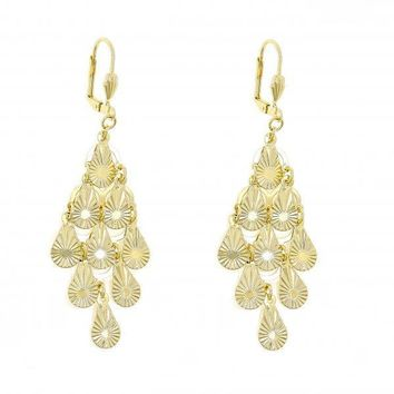 Gold Layered 5.107.003 Chandelier Earring, Teardrop Design, Polished Finish, Golden Tone