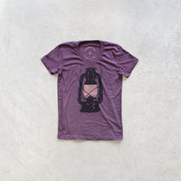 Night Scouting - women t shirt | tshirt women - kerosene lamp on heather plum - camping shirt by Blackbird Tees