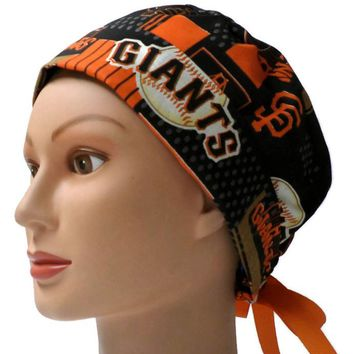 Women's Pixie Surgical Scrub Hat Cap in San Francisco Giants Allover