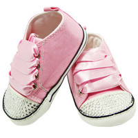 Pink Rhinestone Converse Inspired Baby Crib Shoes - Bling Baby Shoes - Baby Shower Gift