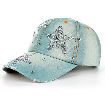 Women Stars Denim Baseball Cap 2017 Summer Rhinestone Baseball Cap Snapback Hat Women Casquette Bone Gorras High Quality #601