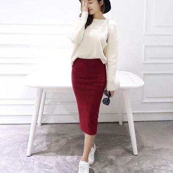 DCCKU62 2016 Summer skirts Sexy Chic Pencil Skirts Women Skirt Wool Rib Knit Long Skirt Package Hip Split Waist midi skirt maxi A919