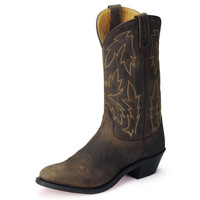 Old West Womens R Toe Brown Leather Cowgirl Boots