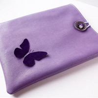 Lavender Leather Ipad Sleeve, I pad Cover, Ipad Case with Butterfly