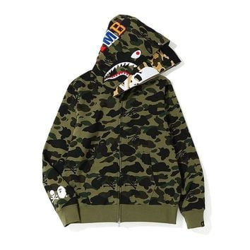 Autumn and winter bape fashion double hat contrast color skull couple jacket hoodies Green