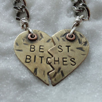 Keychain Best Bitches Brass Heart by SugarandSoySauce