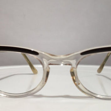 Vintage 1950s or 1960s Shuron Cateye Eyeglass Frames, Very Sharp Clear Lucite and Brown Cateye Eyeglass Frames, NOS or New Old Stock