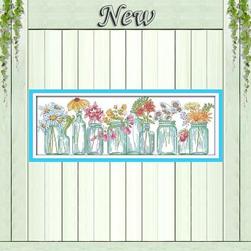 The flower vases colourful home decor painting Cross Stitch DMC 14CT 11CT Counted print on canvas Embroider sets Needlework kits