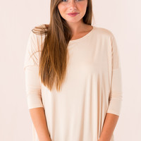Piko Top: 3/4 Sleeve Round Neck in Cream