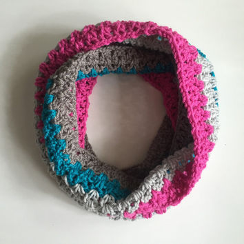 Cotton Candy Peacock Infinity Scarf / Crochet Infinity Scarf / Infinity Scarf / Crochet Scarf / Chunky Cowl / Fall Scarf